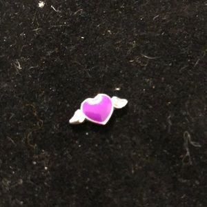 Jewelry - Charm for locket Purple Heart with wings